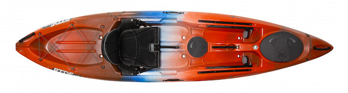 Overhead view of orange and blue river fishing kayak