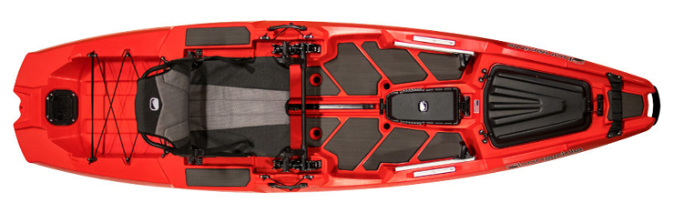 Overhead view of red saltwater fishing kayaks