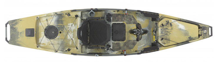 Overhead view of beige saltwater fishing kayaks