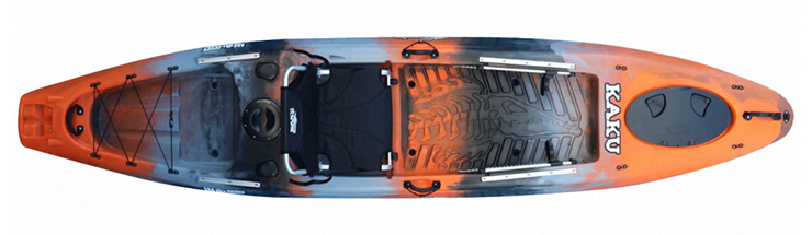 Overhead view of orange saltwater fishing kayak
