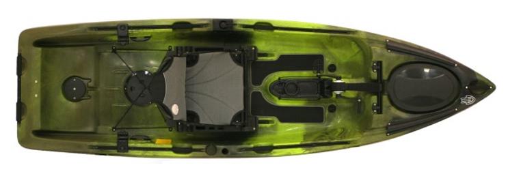 Overhead view of green saltwater fishing kayaks.