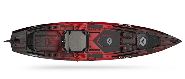 Overhead view of red and black saltwater fishing kayak