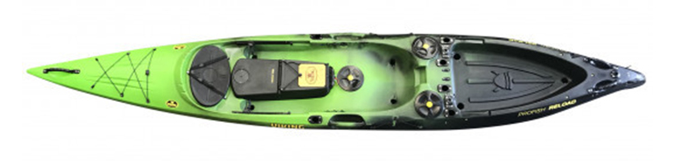 Overhead view of green and black saltwater fishing kayak.
