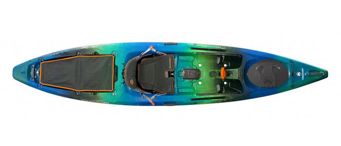 Overhead view of green and blue saltwater fishing kayak