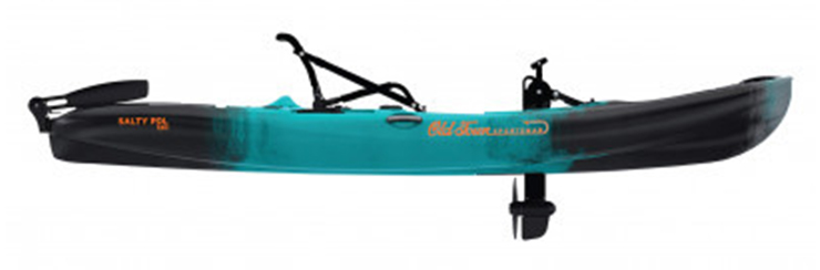 Side view of green and black saltwater fishing kayak