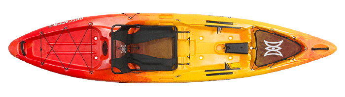 Overhead view of orange and yellow saltwater fishing kayak