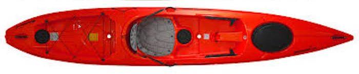 Overhead view of red ocean fishing kayak