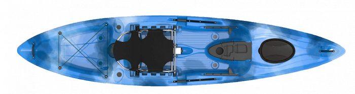 Overhead view of blue ocean fishing kayak
