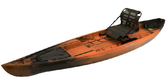 Side view of orange and black ocean fishing kayak