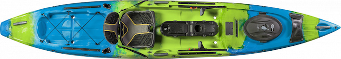 Overhead view of green and blue ocean fishing kayak