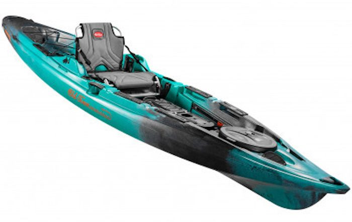 Side view of turquoise and black ocean fishing kayak