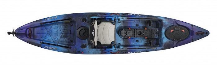 Overhead view of blue and black ocean fishing kayak
