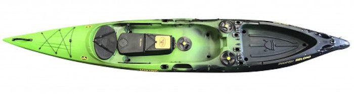 Overhead view of green and black ocean fishing kayak
