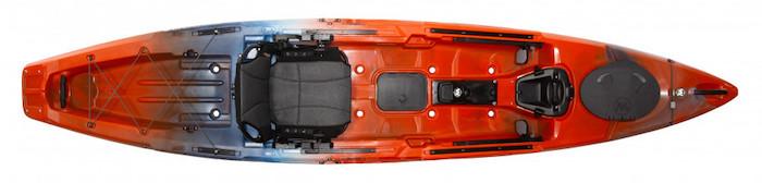 Overhead view of red and grey ocean fishing kayak