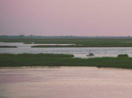 kayak anger fishing at sunset at Point Aux Chene Louisianat