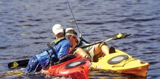 Kayak anglers doing a self-rescue on the water