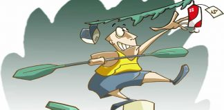 illustration of kayak angler reaching into tree for lure