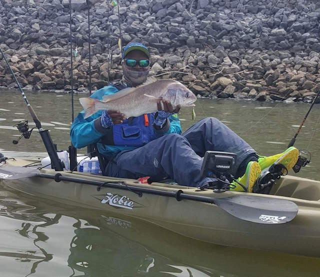 Mike Eady thought he hooked into a ten-pound bass when he set the hook on this big drum. Photo: Matt Stehle