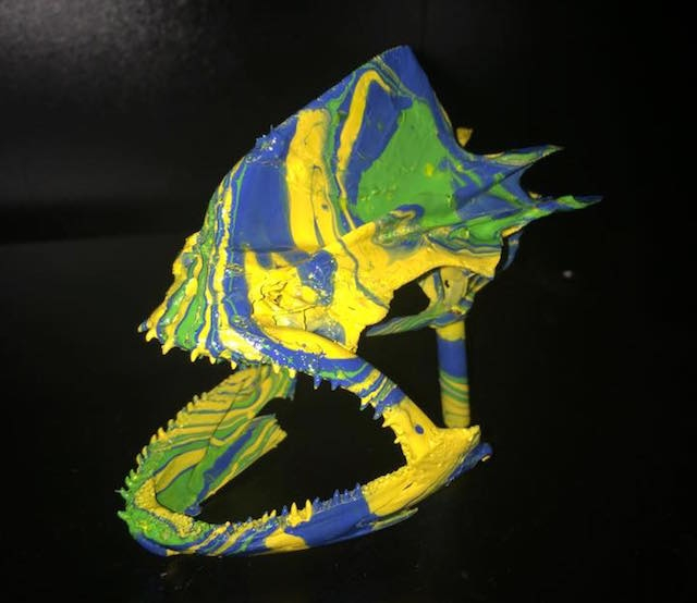 Adam Fisk can assemble your fish skull or jaws plain white or color them with custom art. Photos: Courtesy Adam Fisk
