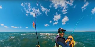 Brett Barley is swarmed by red drum while kayak fishing in the Outer Banks