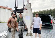 three men posing with a 186-pound halibut, an unofficial world record catch by kayak