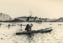 An illustration from the 1886 book, Our Arctic Province, by Henry Elliot, shows early kayak anglers. | Photo Courtesy Vernon Doucette
