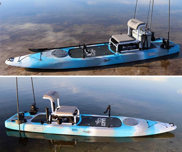 Details of the Kaku Voodoo hybrid kayak, SUP and skiff