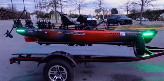 ultimate fishing kayak setup on a trailer in a parking lot