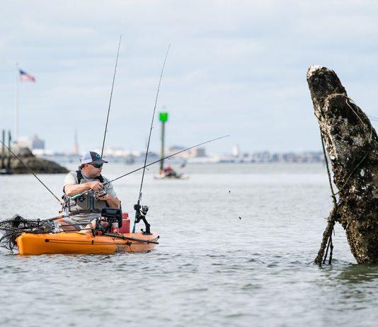 Man fishing from a kayak in Charleston, South Carolina