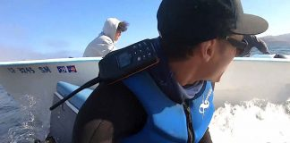 kayaker takes evasive actions during collision with speed boat