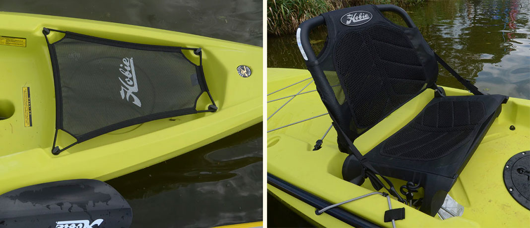 Details of the seat and gear well of the Hobie Mirage Compass