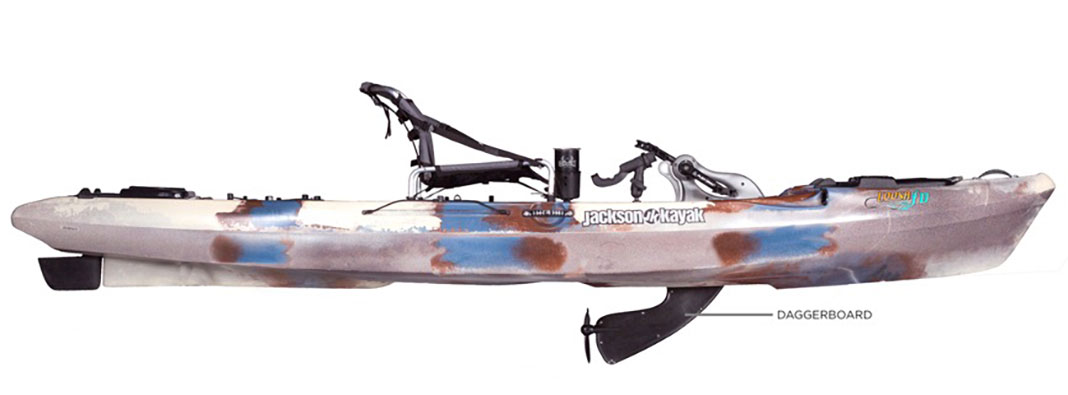 side view of the Jackson Coosa FD pedal kayak with daggerboard