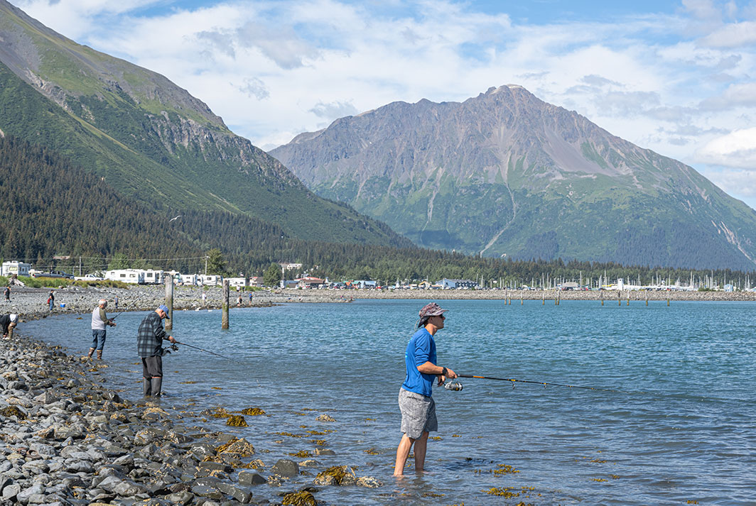 Anglers line the shore to compete for thousands in prizes in the Seward Silver Salmon Derby.   Photo: Dustin Doskocil