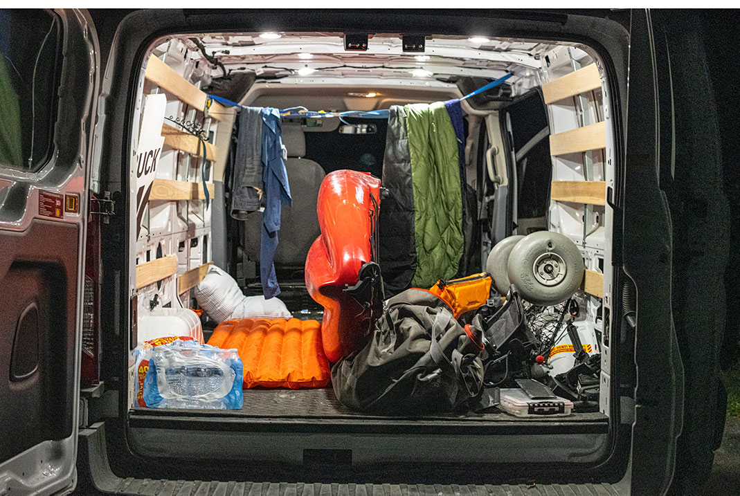 Home away from home, with a pillow and sleeping pad, this reHome away from home, with a pillow and sleeping pad, this rental van served as transport, storage and accommodations.   Photo: Dustin Doskocil