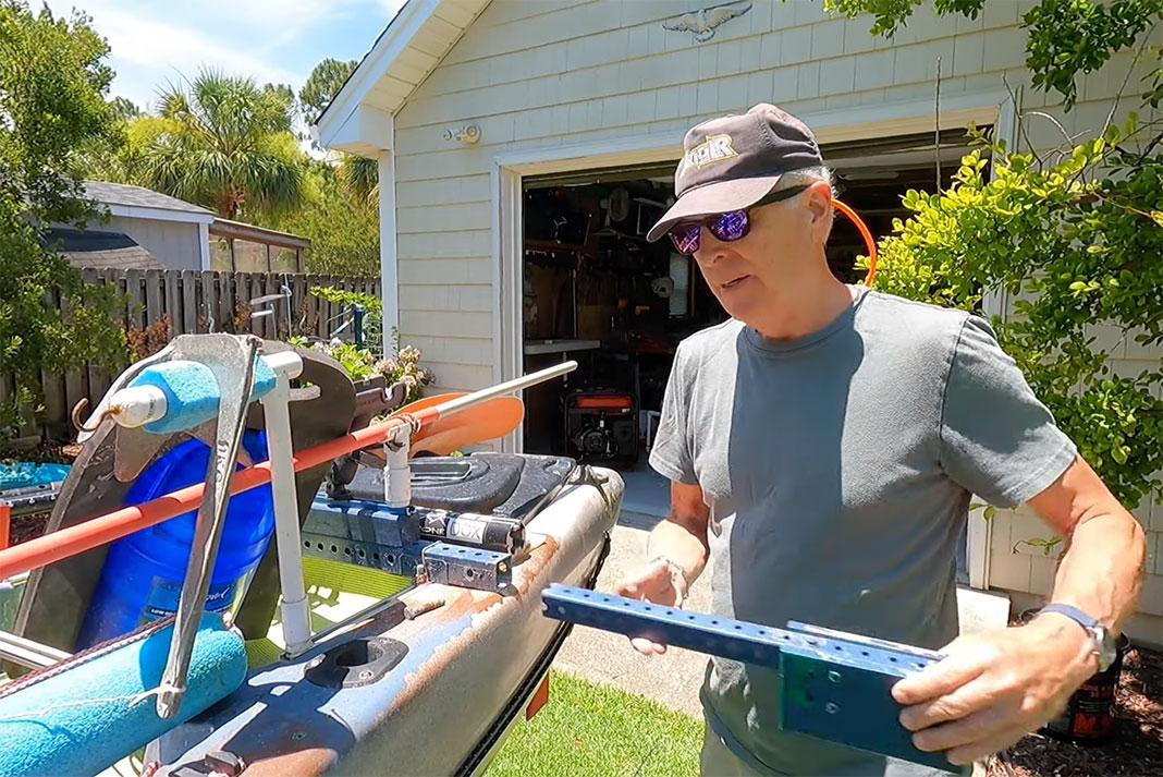 Steve Moore demonstrates his DIY trolling motor mount, one of his favorite fishing kayak hacks