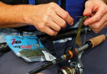 close-up of person rigging up biodegradable fishing lures from Z-Man