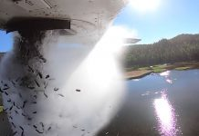 Utah Division of Wildlife Resources conducts aerial fish stocking at a remote lake