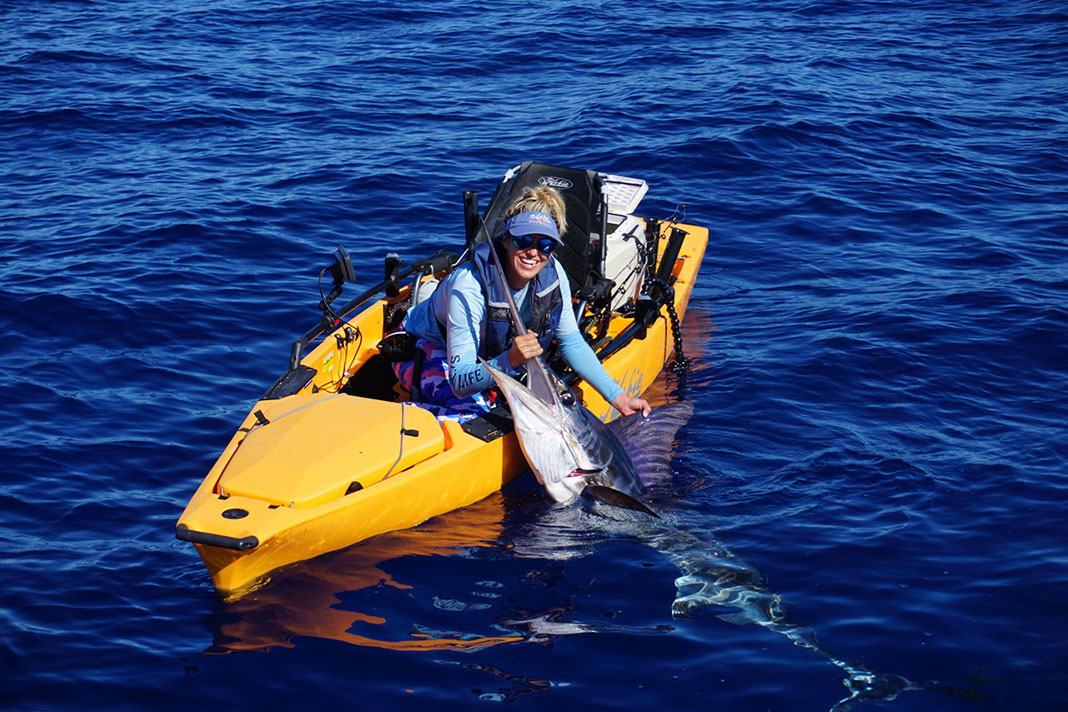 After a four-hour battle, Bri Andrassy becomes the first woman to catch a striped marlin from a kayak.   Photo: Courtesy Bri Andrassy