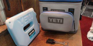 Yeti Hopper cooler with Sidekick accessory back, Yeti Ice pack and bottle opener