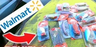 A selection of fishing lures from Walmart in their packages