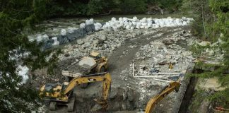 dam removal with excavators on the Middle Fork Nooksack River in Washington State