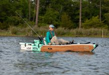 man pedals the BOTE LONO Aero Apex inflatable pedal kayak