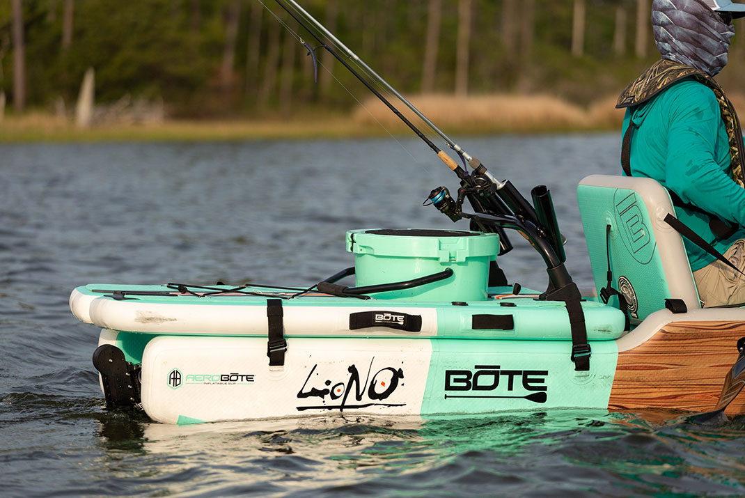 The inflatable stern deck turns BOTE's Aero into an inflatable kayak with gear storage and a standing platform.   Photo: Roberto Westbrook