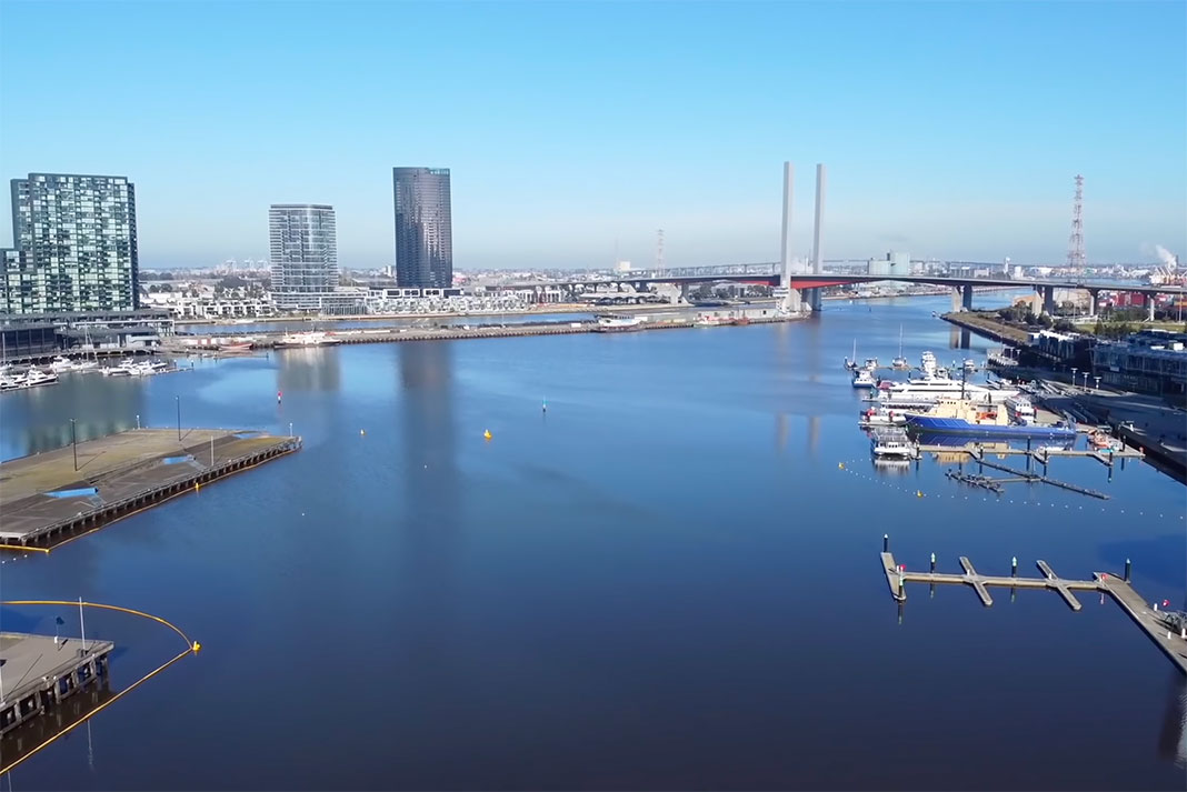 view of the Yarra River estuary in Melbourne, Australia