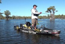 angler stands and prefishes from the 2021 KBF national championship at Caddo Lake